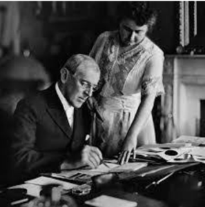 President Woodrow Wilson and his wife, Edith.