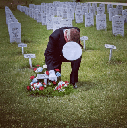 Thomas Crook, used with his permission, taken on July 10, 2020, at the North Dakota Veterans Cemetery at the burial of our father, Garland Crook, Sergeant First Class, US Army, Retired. (Photo by my daughter, Chelsea Sorenson)
