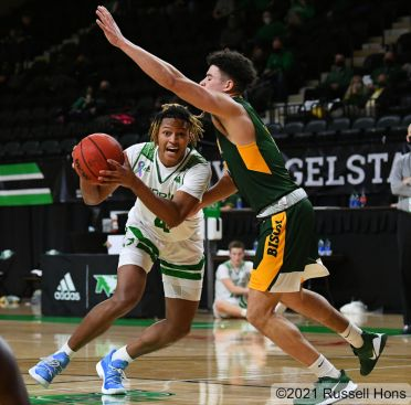 January 15, 2021: a NCAA men's basketball game between the North Dakota State University Bison and the University of North Dakota Fighting Hawks at Betty Engelstad Sioux Center in Grand Forks, ND. Photo by Russell Hons