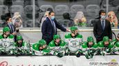 February 13, 2021: A NCAA men's hockey game between Denver University and the University of North Dakota Fighting Hawks at Ralph Engelstad Arena, Grand Forks ND. Photo by Russell Hons