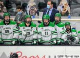 February 20, 2021 NCAA men's hockey game between the Omaha Mavericks and the University of North Dakota Fighting Hawks at Ralph Engelstad Arena in Grand Forks, ND. Photo by Russell Hons