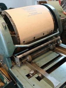 The mimeograph machine.