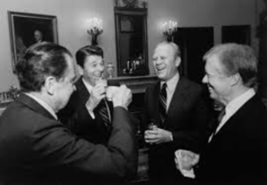 Presidents Richard Nixon, Ronald Reagan, Gerald Ford and Jimmy Carter (from left) at the White House before departing to attend the funeral of Anwar Sadat in Cairo, Egypt.