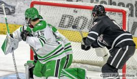 March 5, 2021 NCAA men's hockey game between the Omaha Mavericks and the University of North Dakota Fighting Hawks at Ralph Engelstad Arena in Grand Forks, ND. Photo by Russell Hons