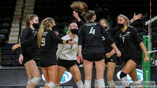 March 6, 2021 a NCAA volleyball game between the Denver University Pioneers and the University of North Dakota Fighting Hawks at the Betty Engelstad Sioux Center in Grand Forks, ND. Photo by Russell Hons