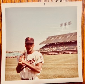 The distant, isolated, left-field bleachers stand behind Minnesota Twins' utility man Cesar Tovar in this 1969 photo at Metropolitan Stadium in Bloomington, Minn.