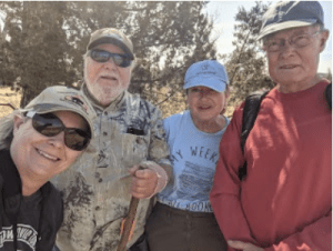 Lillian, Jim, Christine Hogan and Larry Dopson, Elkhorn Ranch hike, Easter 2021. (Photo by Lillian Crook)