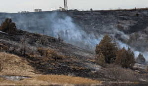 The Roosevelt Creek Fire in early April burned right up against the edge of an oil drilling rig.