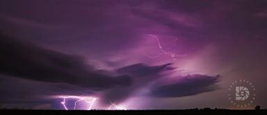 Lightning strikes west of Grand Forks earlier this week.