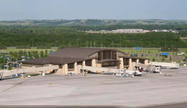 Clay's taxi took him to the Bismarck Airport, a 70,000-square-foot terminal building that stands 57 feet tall with sky painted vaulted ceilings, geothermal heating and cooling and a state-of-the-art baggage handling system. (City of Bismark.)