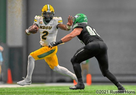 during an NCAA FCS football game between the North Dakota State Bison and the University of North Dakota Fighting Hawks at the Alerus Center in Grand Forks, ND on Saturday, October 2, 2021. Russell Hons