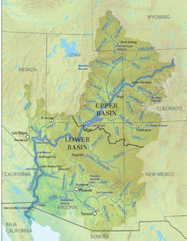 Map of the Upper and Lower Colorado River basin. (American Rivers)