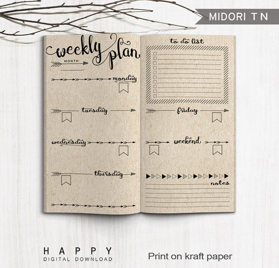 Templates for Midori Traveller's Journal