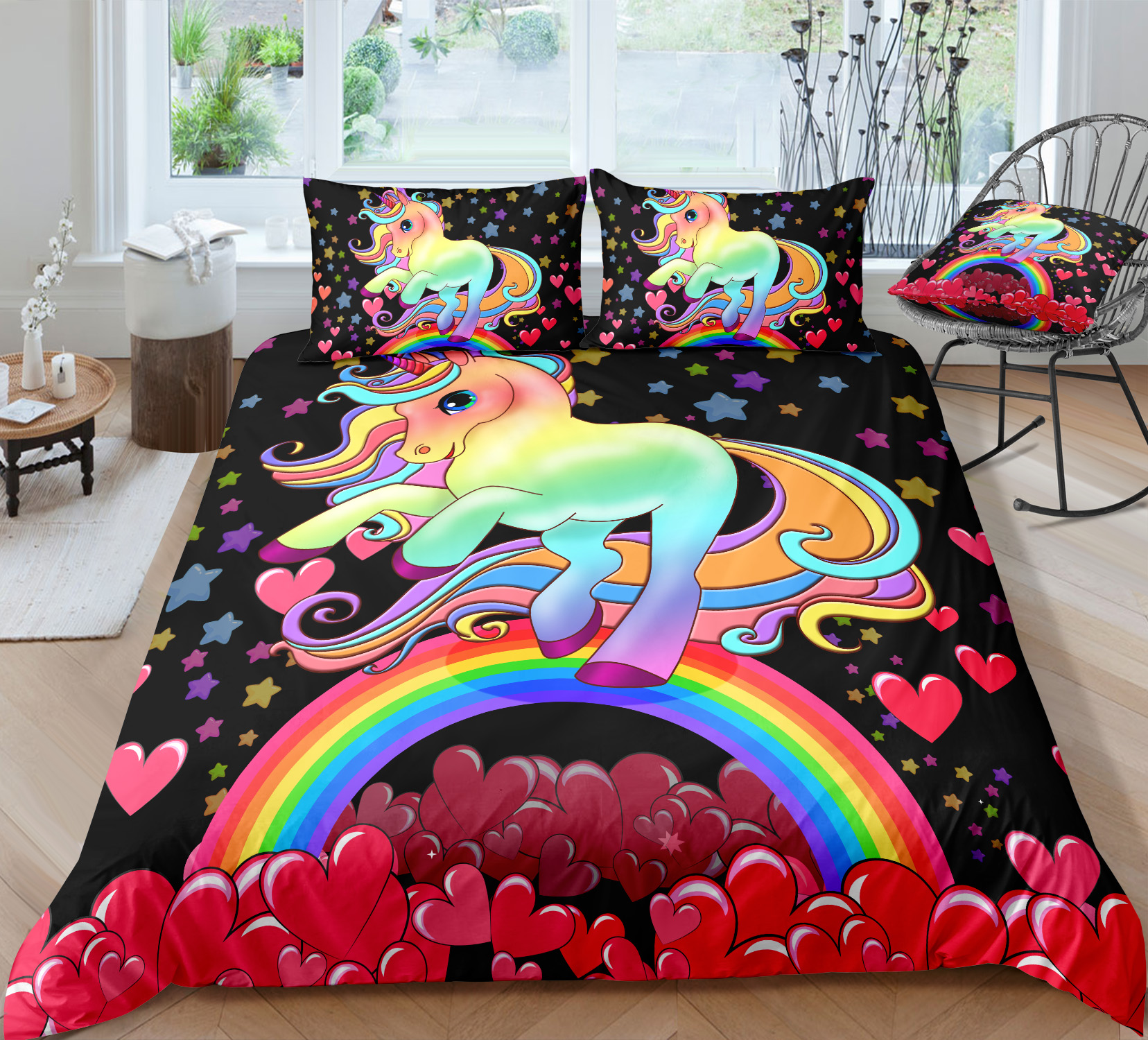 red hearts bedding set for kid girl colorful star rainbow bed cover sets for girls