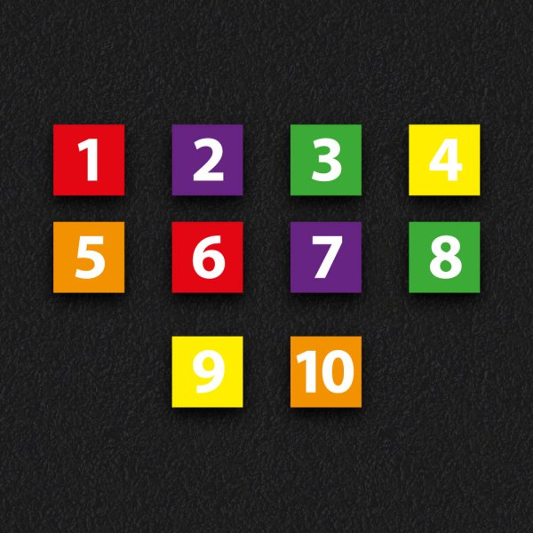1 10 Squares - Numbered Squares 1 - 10