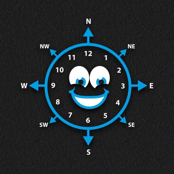 Smiley Face Compass Clock 2NEW - Smiley Face Compass Clock