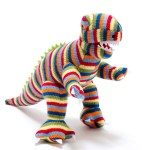 Colourful stripes t-rex toy dino - knitted