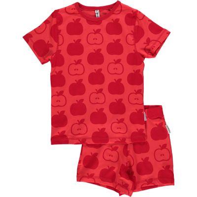 Maxomorra organic cotton short summer pyjamas mono red apple