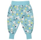 Sausage dog trousers by Piccalilly on blue organic cotton