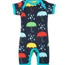 DUNS Sweden umbrella print organic cotton summer romper suit