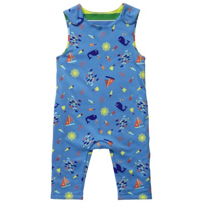 Piccalilly Seaside reversible seaside whale dungarees organic