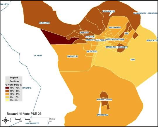 Basauri. Porcentaje de voto al PSE-PSOE por sección censal en municipales 2003
