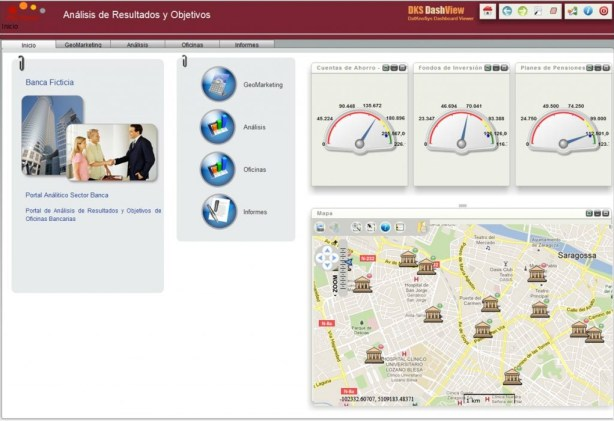 Geosmart banca intro, pantalla inicial de indicadores de oficinas y mapa