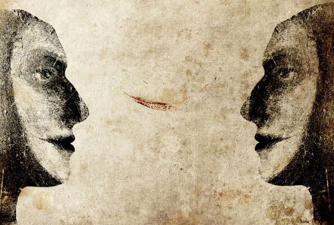Két arc egymással szemben
