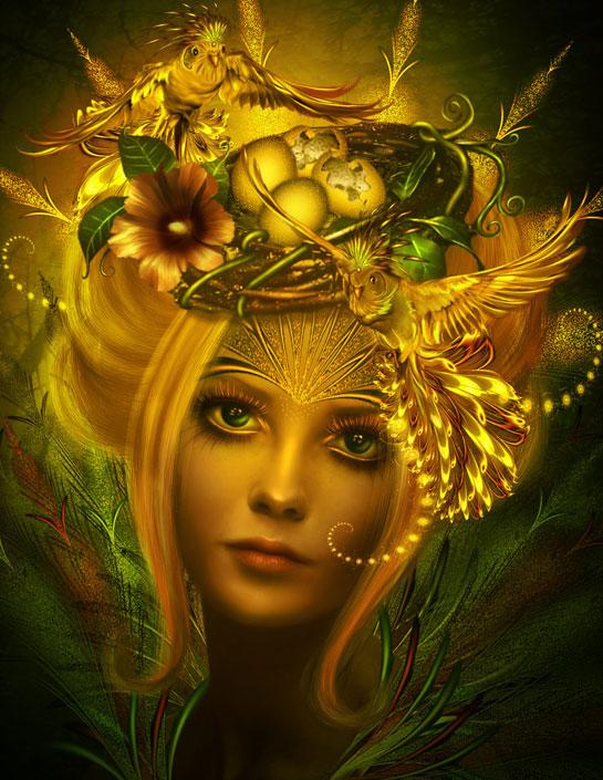 Madárfészekkel a hajában egy gyönyörű női fej.