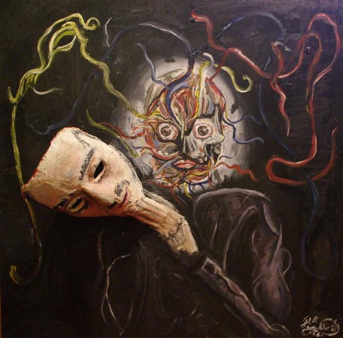 Emberi arc; festmény, az álarc mögött.