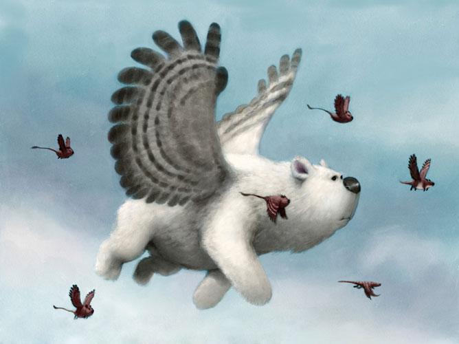 Repülő szárnyas kutya; 3d animáció.