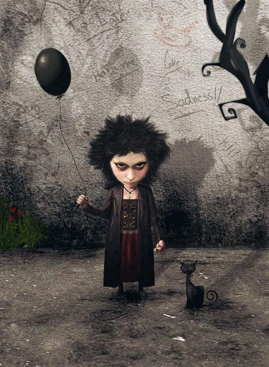 Lány lufival-Art-Dark.