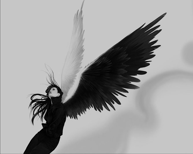 Black and white angel.