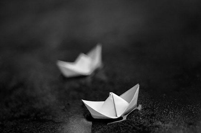 papír hajók.
