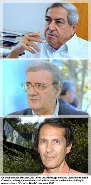 """Os economistas Wilson Cano (alto), Luiz Gonzaga Belluzzo (centro) e Ricardo Carneiro (acima), da vertente estruturalista: causas da desindustrialização remontariam à """"Crise da Dívida"""" dos anos 1980"""