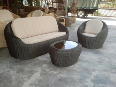 Ivory Wicker Sofa Set