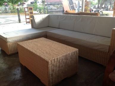 L Shape Natural Wicker Sofa