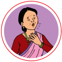 This image shows an image of a woman having difficulty breathing