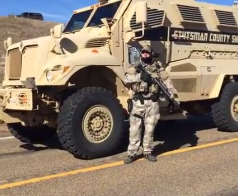 Stutsman County Sheriff MRAP armored vehicle, operated by Bismarck SWAT. Screenshot from Shailene Woodley Facebook livestream
