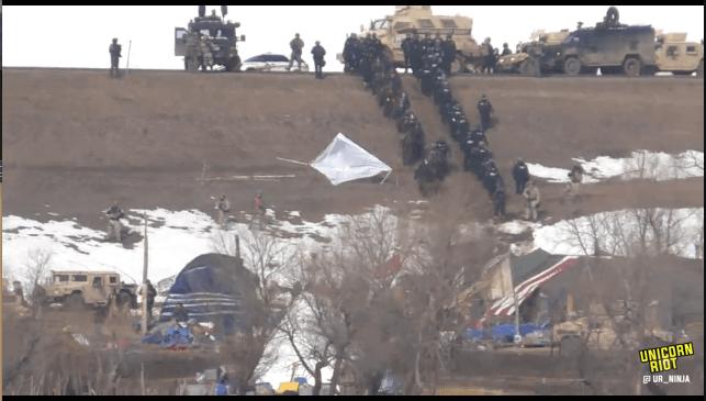 North Dakota Dismantles #NoDAPL Oceti Camp F23-invade2