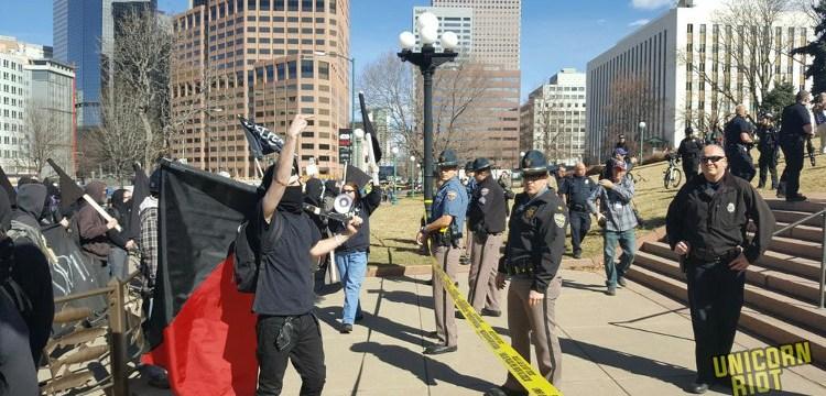Black Bloc Confronts March 4 Trump in Denver