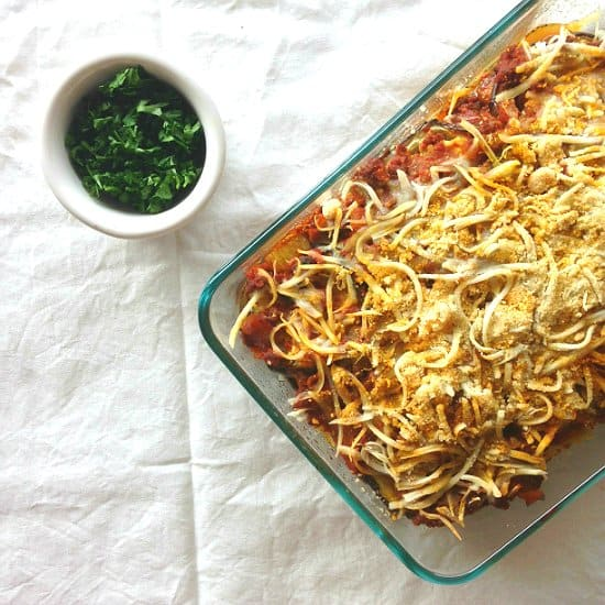 You won't even miss the lasagna noodles in this hearty eggplant lasagna bursting with flavors