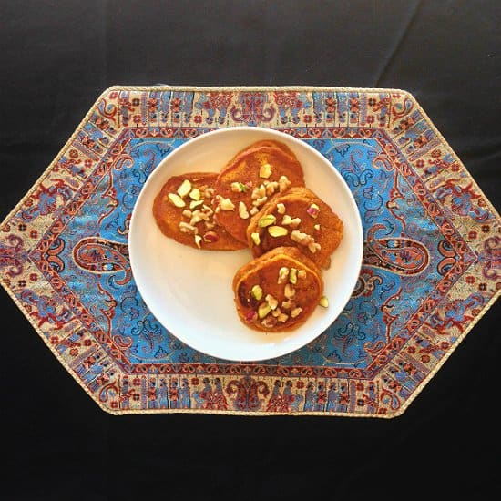 Persian Pumpkin Pancake with a taste of rosewater, tastes like old stories