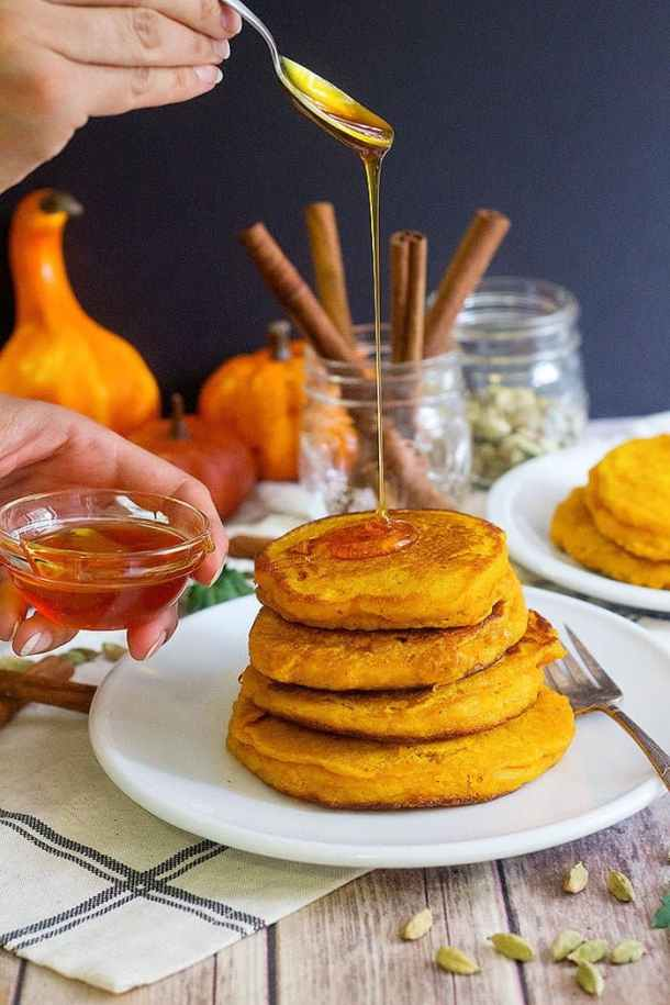Learn How to Make Pumpkin Pancakes for breakfast and brunch. From unicornisnthekitchen.com