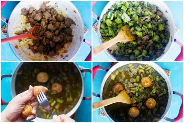 saute onion and lamb in olive oil add in sauteed celery and herbs plus water and cook add in pierced Persian dried limes. Cook for some minutes.