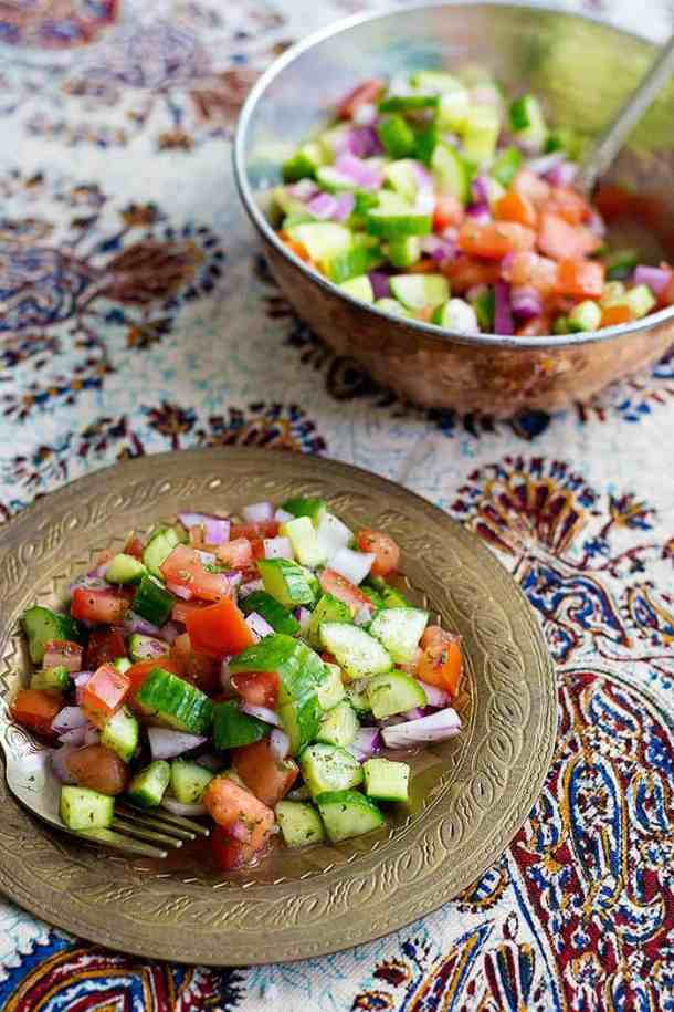 Salad Shirazi is a great side dish for meat, rice and barbecue.