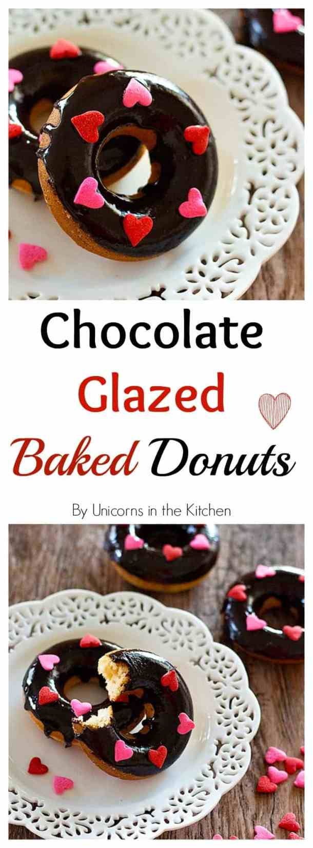These chocolate glazed baked donuts will be your new favorite donuts! No frying required so you can just make them in big batches and enjoy having delicious donuts!