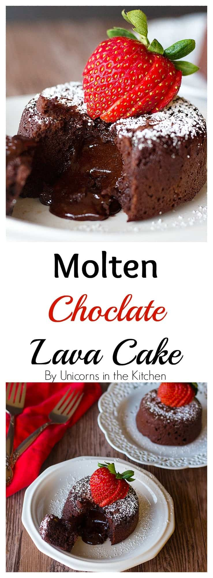 Molten Chocolate Lava Cake is such a delicious classic! It's moist and so chocolaty and when you cut into it, luscious chocolate oozes out!