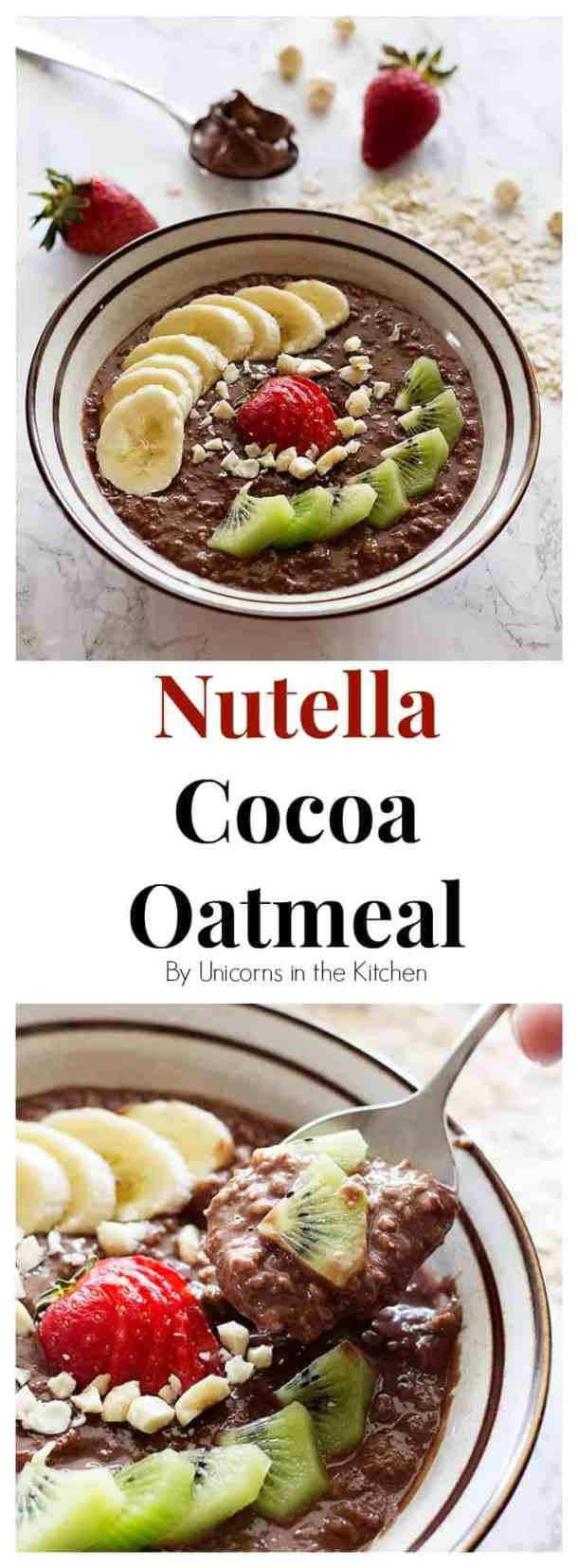 This Nutella Cocoa Oatmeal Bowl is perfect for breakfast, or any time that you crave something sweet and easy! Make it even better by adding some cocoa powder!