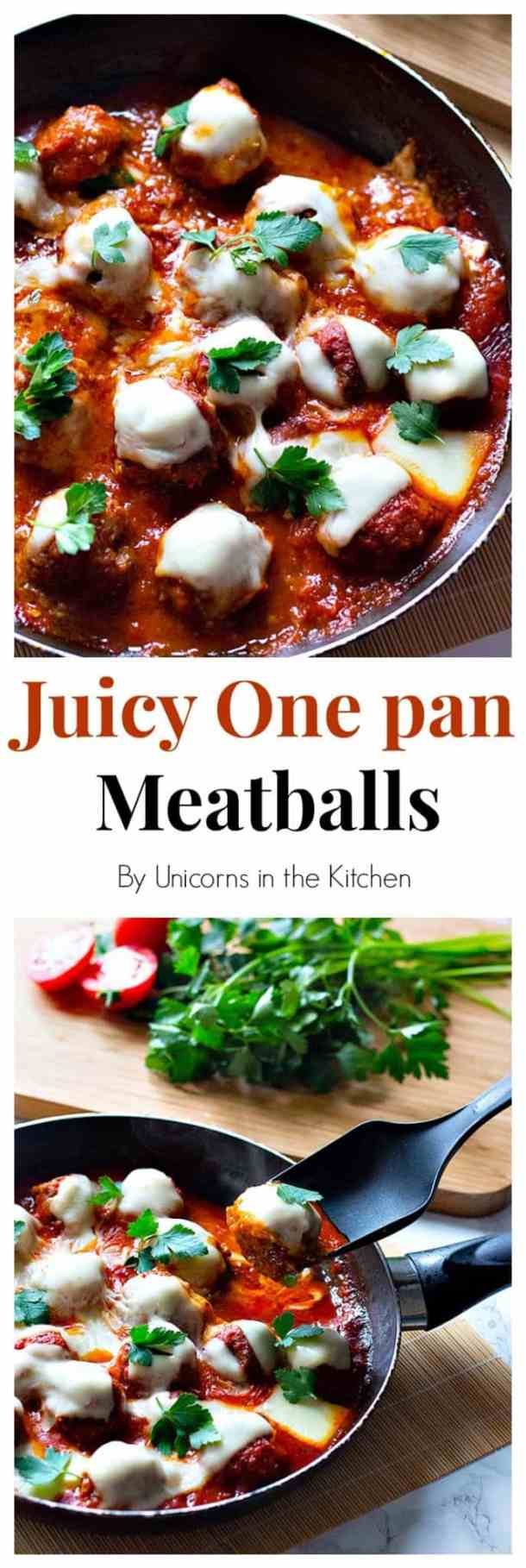 This recipe for juicy one pan meatballs is easy and has only a few ingredients. It's perfect for weeknights and can be served with rice, bread, pasta, or roasted potatoes!